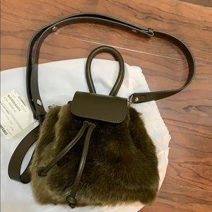 Atelier park color handle fur bag